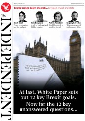 The Independent (UK) Newspaper Front Page for 3 February 2017