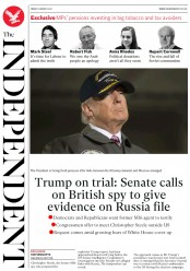 The Independent (UK) Newspaper Front Page for 3 March 2017
