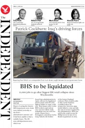 The Independent () Newspaper Front Page for 3 June 2016