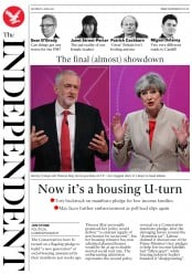 The Independent (UK) Newspaper Front Page for 3 June 2017