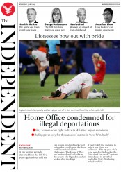 The Independent (UK) Newspaper Front Page for 3 July 2019