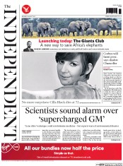 The Independent (UK) Newspaper Front Page for 3 August 2015