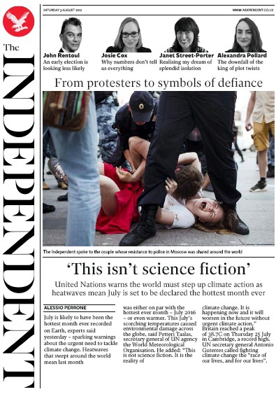The Independent Newspaper Front Page (UK) for 3 August 2019