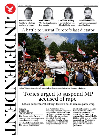 The Independent Newspaper Front Page (UK) for 3 August 2020