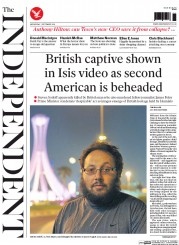 The Independent (UK) Newspaper Front Page for 3 September 2014