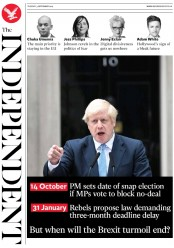 The Independent (UK) Newspaper Front Page for 3 September 2019
