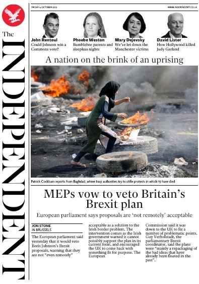 The Independent Newspaper Front Page (UK) for 4 October 2019
