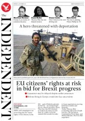 The Independent (UK) Newspaper Front Page for 4 December 2017
