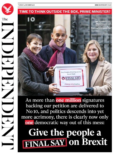 The Independent Newspaper Front Page (UK) for 4 December 2018