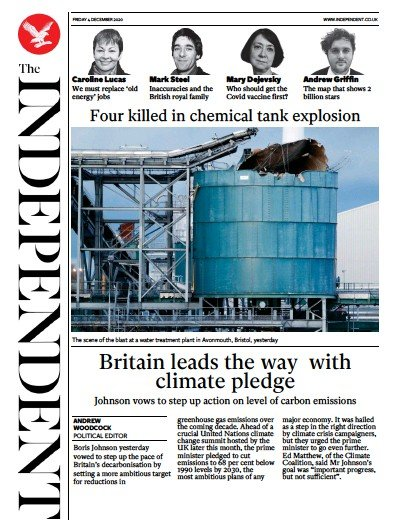 The Independent Newspaper Front Page (UK) for 4 December 2020
