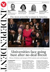 The Independent (UK) Newspaper Front Page for 4 January 2019