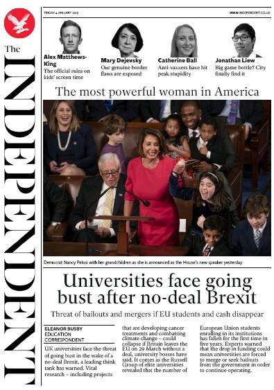 The Independent Newspaper Front Page (UK) for 4 January 2019