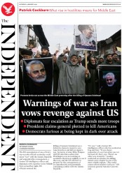 The Independent (UK) Newspaper Front Page for 4 January 2020
