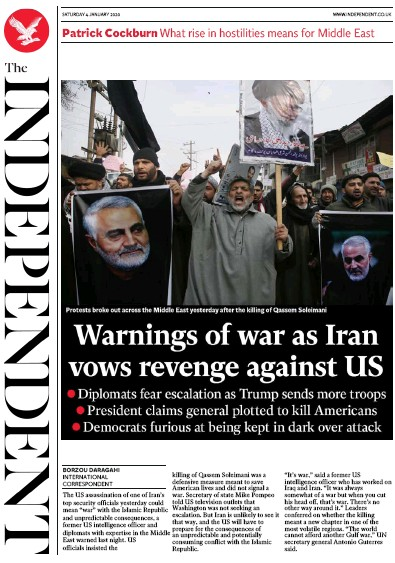 The Independent Newspaper Front Page (UK) for 4 January 2020