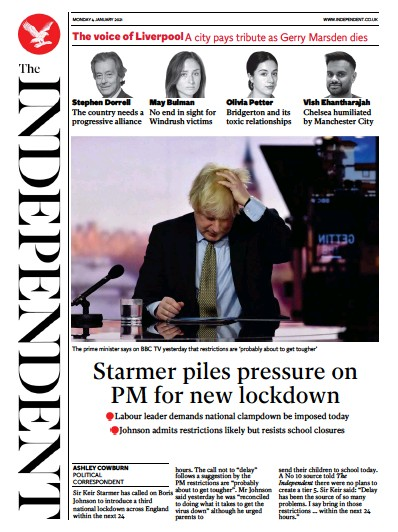 The Independent Newspaper Front Page (UK) for 4 January 2021