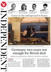 The Independent (UK) Newspaper Front Page for 4 April 2017