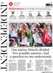 The Independent (UK) Newspaper Front Page for 4 July 2015