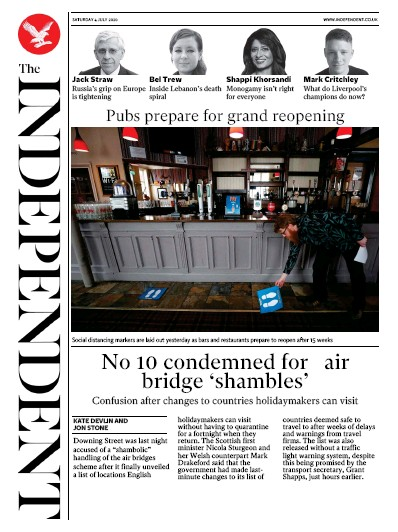 The Independent Newspaper Front Page (UK) for 4 July 2020