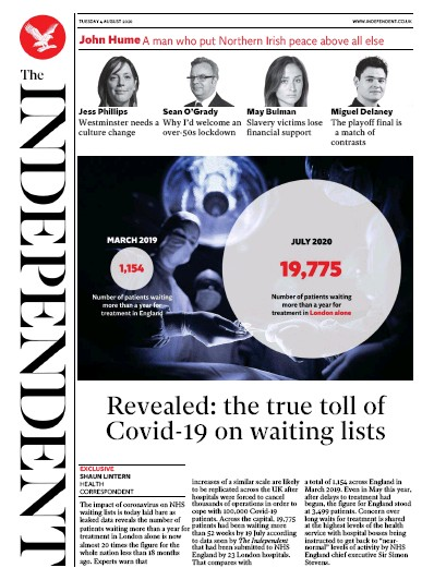 The Independent Newspaper Front Page (UK) for 4 August 2020