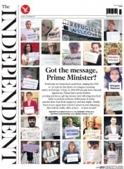 The Independent (UK) Newspaper Front Page for 4 September 2015