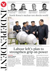 The Independent (UK) Newspaper Front Page for 4 September 2017