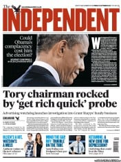 The Independent Newspaper Front Page (UK) for 5 October 2012