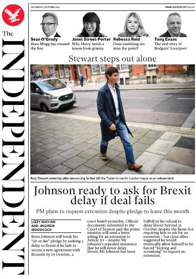 The Independent Newspaper Front Page (UK) for 5 October 2019