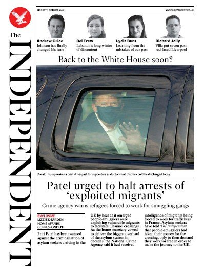 The Independent Newspaper Front Page (UK) for 5 October 2020