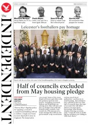 The Independent (UK) Newspaper Front Page for 5 November 2018