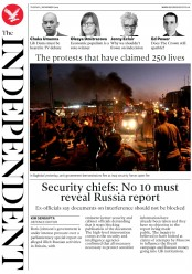 The Independent (UK) Newspaper Front Page for 5 November 2019