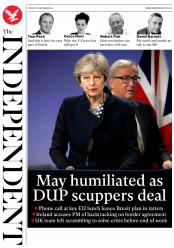 The Independent (UK) Newspaper Front Page for 5 December 2017