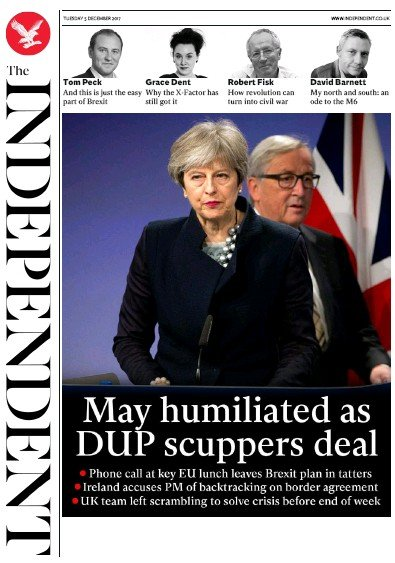 The Independent Newspaper Front Page (UK) for 5 December 2017