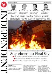 The Independent (UK) Newspaper Front Page for 5 December 2018