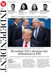 The Independent (UK) Newspaper Front Page for 5 December 2019
