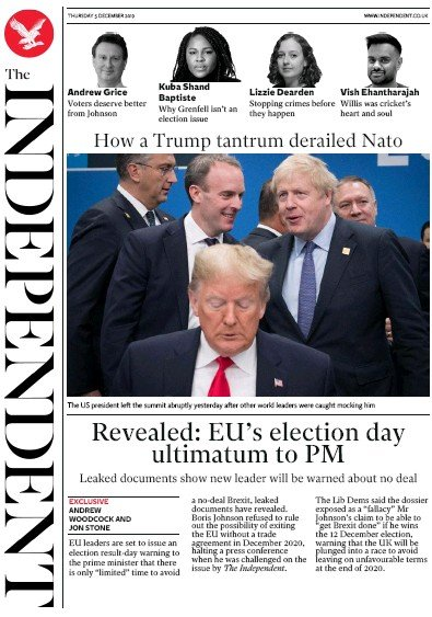The Independent Newspaper Front Page (UK) for 5 December 2019
