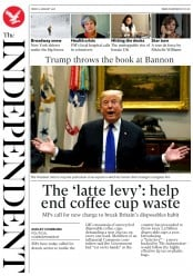 The Independent (UK) Newspaper Front Page for 5 January 2018