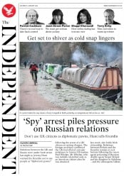 The Independent (UK) Newspaper Front Page for 5 January 2019