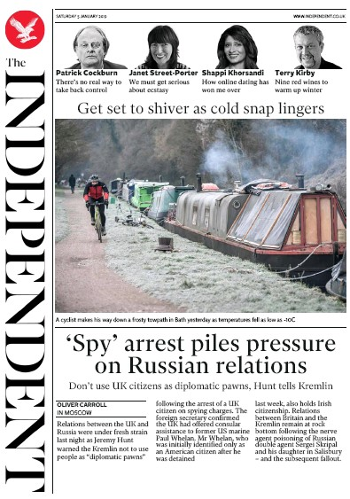 The Independent Newspaper Front Page (UK) for 5 January 2019