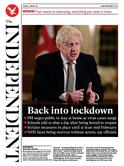 The Independent Newspaper Front Page (UK) for 5 January 2021
