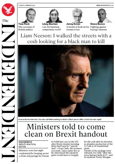The Independent Newspaper Front Page (UK) for 5 February 2019