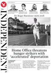 The Independent (UK) Newspaper Front Page for 5 March 2018