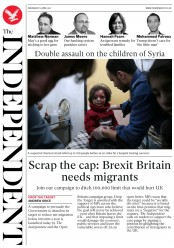 The Independent (UK) Newspaper Front Page for 5 April 2017