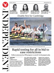 The Independent () Newspaper Front Page for 5 April 2021
