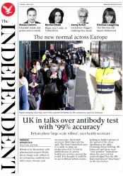 The Independent (UK) Newspaper Front Page for 5 May 2020