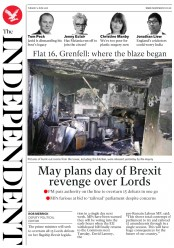 The Independent (UK) Newspaper Front Page for 5 June 2018
