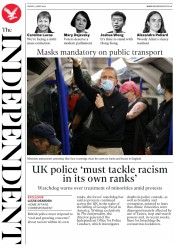 The Independent (UK) Newspaper Front Page for 5 June 2020