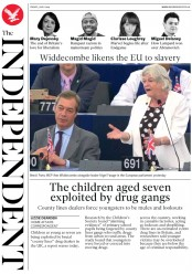 The Independent (UK) Newspaper Front Page for 5 July 2019