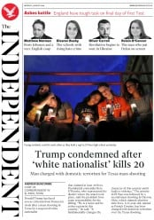 The Independent (UK) Newspaper Front Page for 5 August 2019