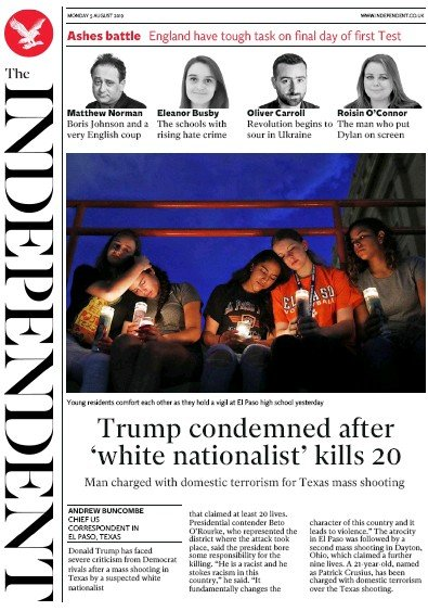 The Independent Newspaper Front Page (UK) for 5 August 2019