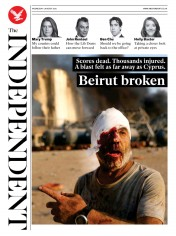 The Independent front page for 5 August 2020